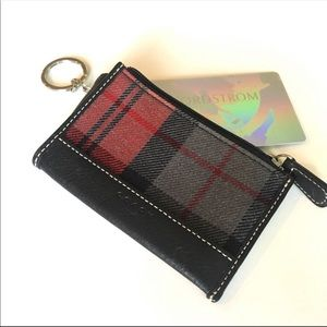 Coach Plaid and Leather Keychain Card Holder